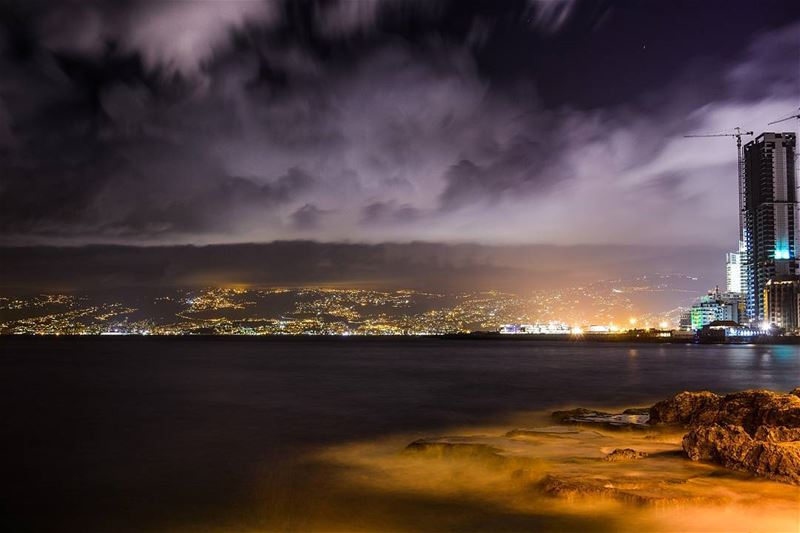 .Beirut Sea stormy evening | Long exposure | good evening dear friends... (Beirut, Lebanon)